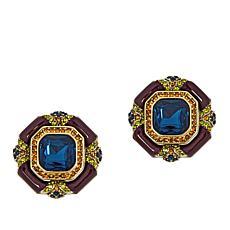 "Heidi Daus ""Day and Night"" Crystal and Enamel Earrings"