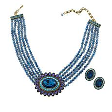 "Heidi Daus ""Dazzling Delight"" 5-Row Crystal Necklace and Earrings Set"