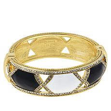"Heidi Daus ""Divine Diamond"" Crystal and Enamel Hinged Bangle Bracelet"