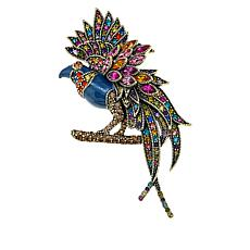 "Heidi Daus ""Fantastic Feathers"" Crystal and Enamel Pin"