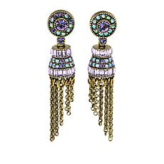"Heidi Daus ""French Flair"" Crystal Tassel Drop Earrings"