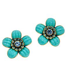 "Heidi Daus ""Garden for the Ear"" Enamel and Crystal Stud Earrings"