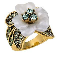 "Heidi Daus ""Glamorous Gardenia"" Resin and Crystal Ring"