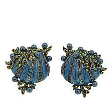 "Heidi Daus ""Goddess of the Sea"" Enamel and Crystal Earrings"