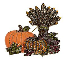 "Heidi Daus ""Halloween Harvest"" Enamel and Crystal Pin"