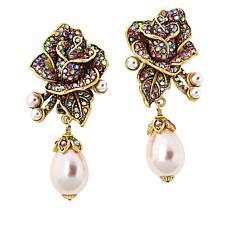 """Heidi Daus """"J'adore Rose"""" Simulated Pearl and Crystal Drop Earrings"""