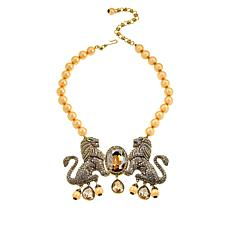 "Heidi Daus ""Lion Royalty"" Beaded Crystal Drop Necklace"