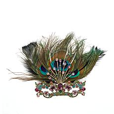 "Heidi Daus ""Masked Beauty"" Crystal-Accented Feathered Pin"