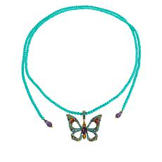 "Heidi Daus ""Monarch Magic"" Butterfly Enhancer Pendant Beaded Necklace"