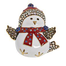 "Heidi Daus ""Mrs. Snow Bird"" Enamel and Crystal Pin"
