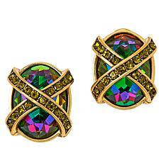 Heidi Daus Multi-Color Crystal X-Design Collar Earrings