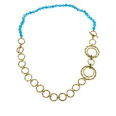 """Heidi Daus """"New Wave"""" Goldtone Bead and Chain Convertible Necklace"""