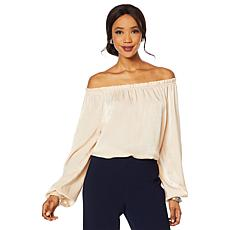 Heidi Daus Off-Shoulder Satin Top