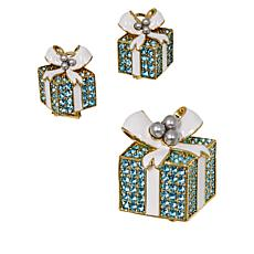 "Heidi Daus ""Pavé Package"" Crystal Pin and Earrings Set"