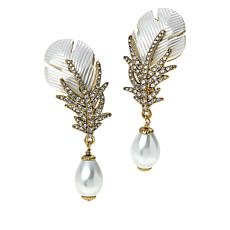 "Heidi Daus ""Pretty Plumage"" Pavé Crystal Simulated Pearl Drop Earrings"