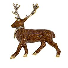 "Heidi Daus ""Randy Reindeer"" Enamel and Crystal Pin"