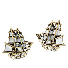 "Heidi Daus ""Royal Clipper Ship"" Crystal-Accented Enamel Earrings"