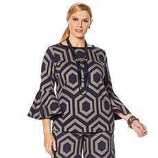 "Heidi Daus ""Simply Sensational"" Graphic Jacquard Bell-Sleeve Top"
