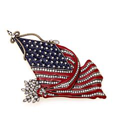 "Heidi Daus ""So Swag"" Crystal and Enamel Flag Pin"