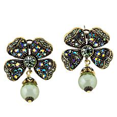 "Heidi Daus ""St. Sparkle"" Four Leaf Clover Crystal Earrings"