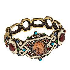 "Heidi Daus ""Stunningly Shelly"" Enamel and Crystal Bangle Bracelet"