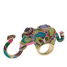 "Heidi Daus ""Unforgettable Expression"" Elephant-Design 3-Finger Ring"