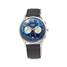 Henry London Knightsbridge Blue Dial Black Strap Watch