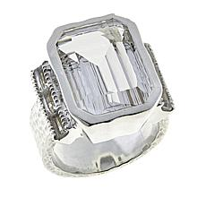 "Herkimer Mines 12.6ctw Herkimer ""Diamond"" Quartz Side Baguettes Ring"