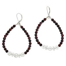 "Herkimer Mines ""Diamond"" Quartz and Garnet Endless Hoop Earrings"