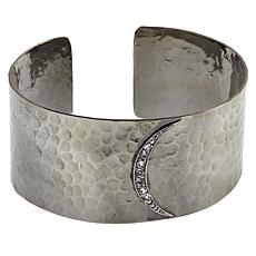"Herkimer Mines ""Diamond"" Quartz Crescent Moon Hammered Cuff Bracelet"