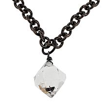 "Herkimer Mines ""Diamond"" Quartz Drop Black Rhodium Unisex Necklace"