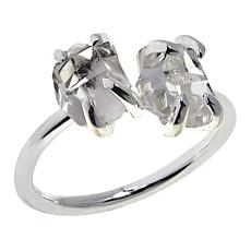 "Herkimer Mines ""Diamond"" Quartz Freeform Two-Stone Ring"
