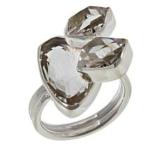 "Herkimer Mines Sterling Silver ""Diamond"" Quartz 3-Stone Ring"