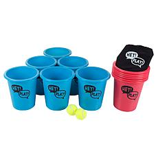 Hey! Play! Beer Pong Outdoor Game Set w/12 Buckets, 2 Balls, Tote Bag