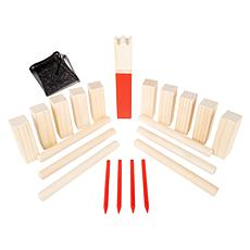 Hey! Play! Kubb Viking Chess Game Wood Outdoor Lawn Game Set