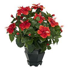 Hibiscus with Black Hexagon Vase Silk Plant