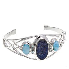 Himalayan Gems™ Blue Drusy, Blue Topaz and Larimar Cuff