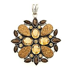 Himalayan Gems™ Goldtone Drusy and Gem Floral Pendant