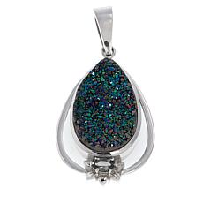 Himalayan Gems™ Green Drusy and Peridot Pear-Shaped Pendant