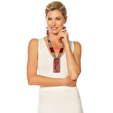 "Himalayan Gems™  ""Kinaara""  Red Potay Tassel 23"" Necklace"