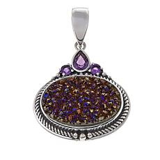 Himalayan Gems™ Purple Drusy and Amethyst Oval Pendant