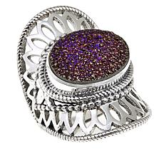 Himalayan Gems™ Purple Drusy Lace Design Sterling Silver Ring