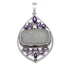 Himalayan Gems™ White Drusy and Amethyst Sterling Silver Pendant