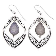 Himalayan Gems™ White Drusy Filigree Drop Earrings