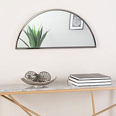 "Holly & Martin Decorative 30"" Demilune Mirror - Black Nickel"