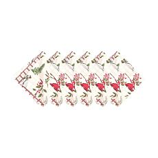Holly Sprig Birds Napkin 6-Pack