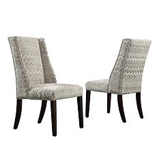 Home Origin Set of 2 Westgate Wingback Chairs - Gray Chevron