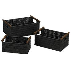 Household Essentials™ Paper Rope 3 Black Stain Baskets