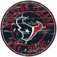 Houston Texans Round Distressed Sign
