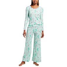 HUE 2-piece Waffle Knit Print Pajama Set with Headband  - Missy